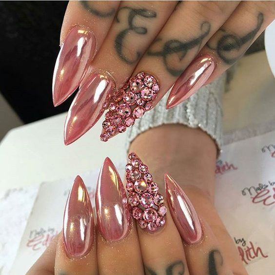 Maybe pink chrome with silver rhinestone embellishment?