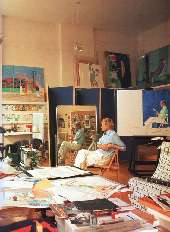 int rieur atelier d 39 artiste uk chez david hockney long road home londres maisons d. Black Bedroom Furniture Sets. Home Design Ideas