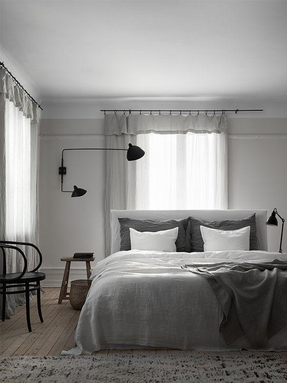 Tringles rideaux gris and chambre scandinave on pinterest for Devant la fenetre
