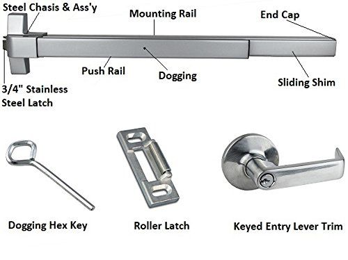 Push Bar Panic Exit Device Ul Listed With Exterior Lever Lever Hex Key Exterior