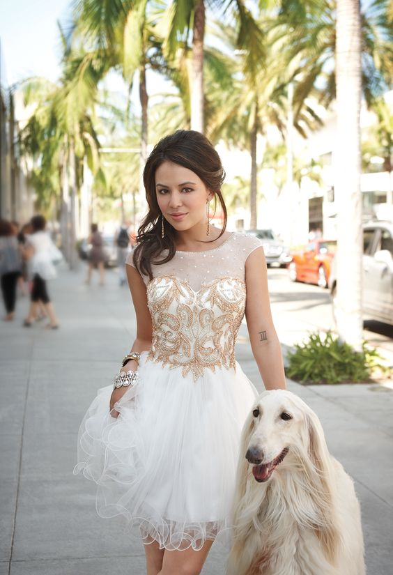 Short Beaded Illusion Prom Dress with Tulle Skirt by Camille La Vie & Group USA modeled by Janel Parrish of Pretty Little Liars