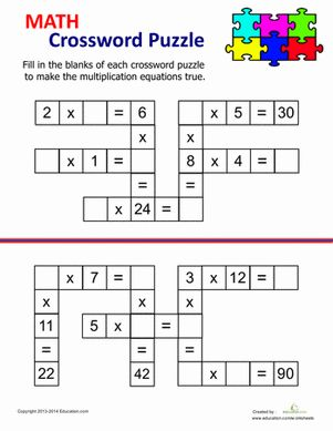 math worksheet : multiplication crossword  crossword multiplication and worksheets : Cross Multiplication Worksheets