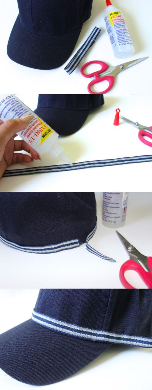 DIY: Metallic Trim Embellished Baseball Cap - 12 Fashionable DIY Ideas