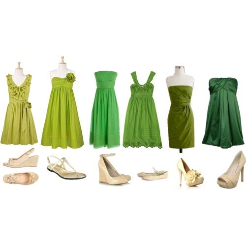 Brooke, Lauren, @Hayden Milliron, Rachel, Courtney and Kaitlyn, respectively. Except all the dresses would be in the same shade as Kaitlyn's. So everyone looks good in a dress that suits their body but they still match. (Ignore all the shoes.)