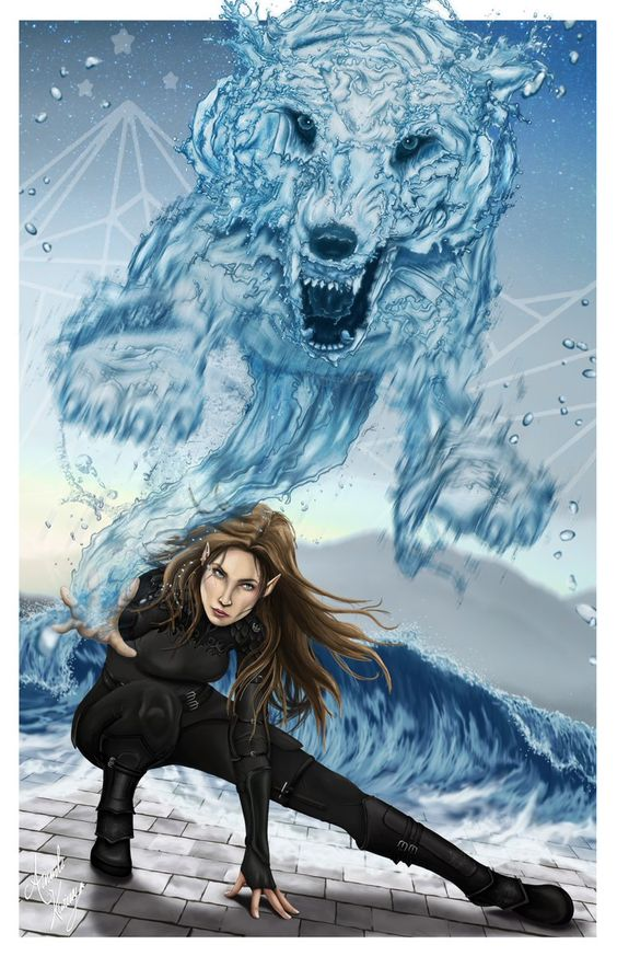 (Not my art ) Feyre and her water wolves. Feyre Curse breaker, Defender of the Rainbow