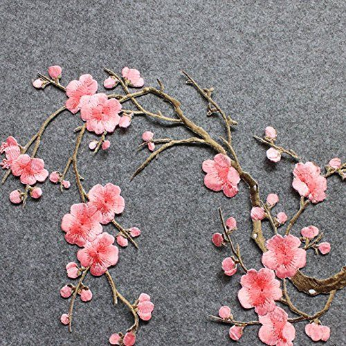Sew on /& iron on embroidery patches gray /& yellow plum flower