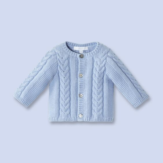 Cotton-cashmere knit cardigan  for baby, boy: