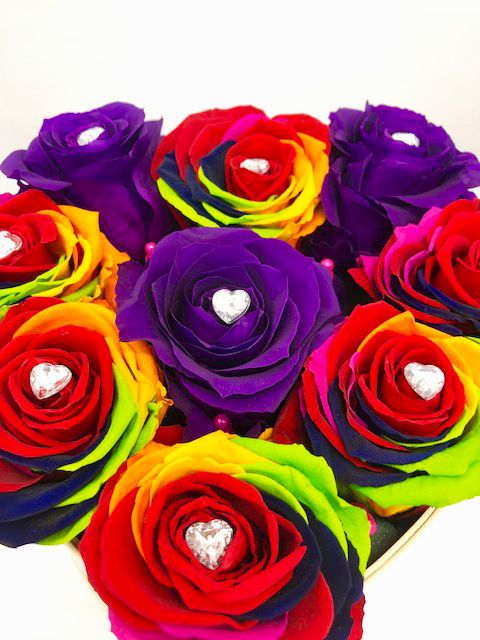 Everlasting Rainbow Roses Beautifully Arranged In Love Heart Hat Box It Is Love At First Sight By Rodgers Flower Delivery Rainbow Roses Flowers