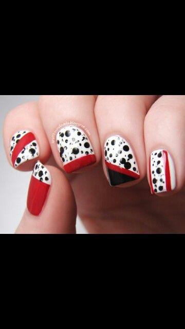 101 dalmatians nails #disney #101dalmatians #nails