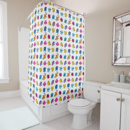 Mr Men Little Miss Dancing Neon Pattern Shower Curtain Zazzle Com Pink Shower Curtains Patterned Shower