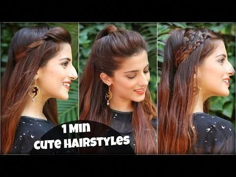 1 Min Cute Easy Everyday Hairstyles For School College Work Valentine S Day Hairstyles Easyhair Hair Styles Everyday Hairstyles Easy Everyday Hairstyles