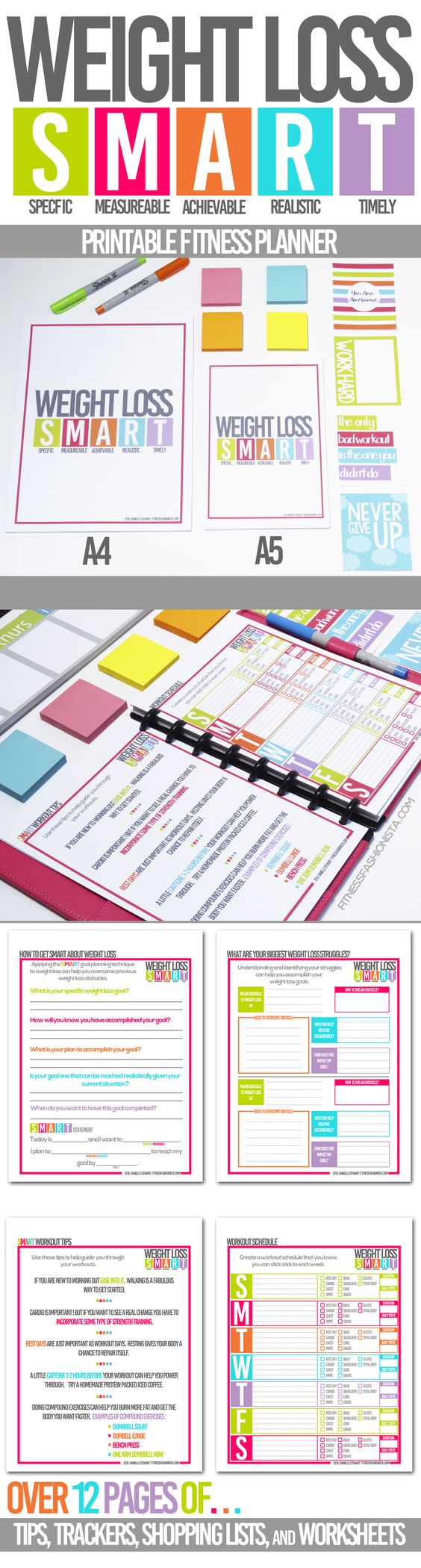 SMART Weight Loss printable Fitness Planner to help keep weight loss on track.  Track your meals, workouts, measurements plus pages of tips to help you lose weight the smart way.  Avaliable in A4 and A5 size fits most planners and binder systems.