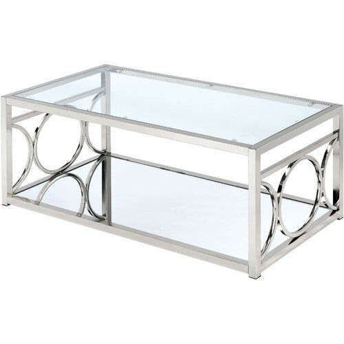 Hampshire Coffee Table Canora Grey Colour Chrome In 2020 Contemporary Glass Coffee Tables Glass Top Coffee Table Furniture