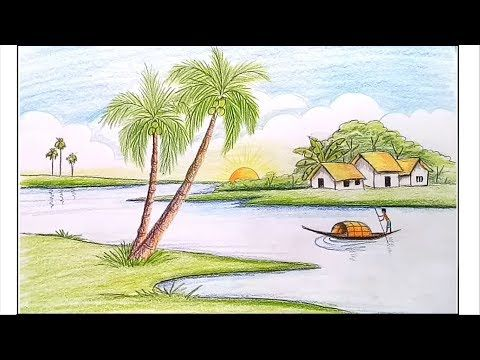 How To Draw Riverside Landscape Village Scenery Step By Step