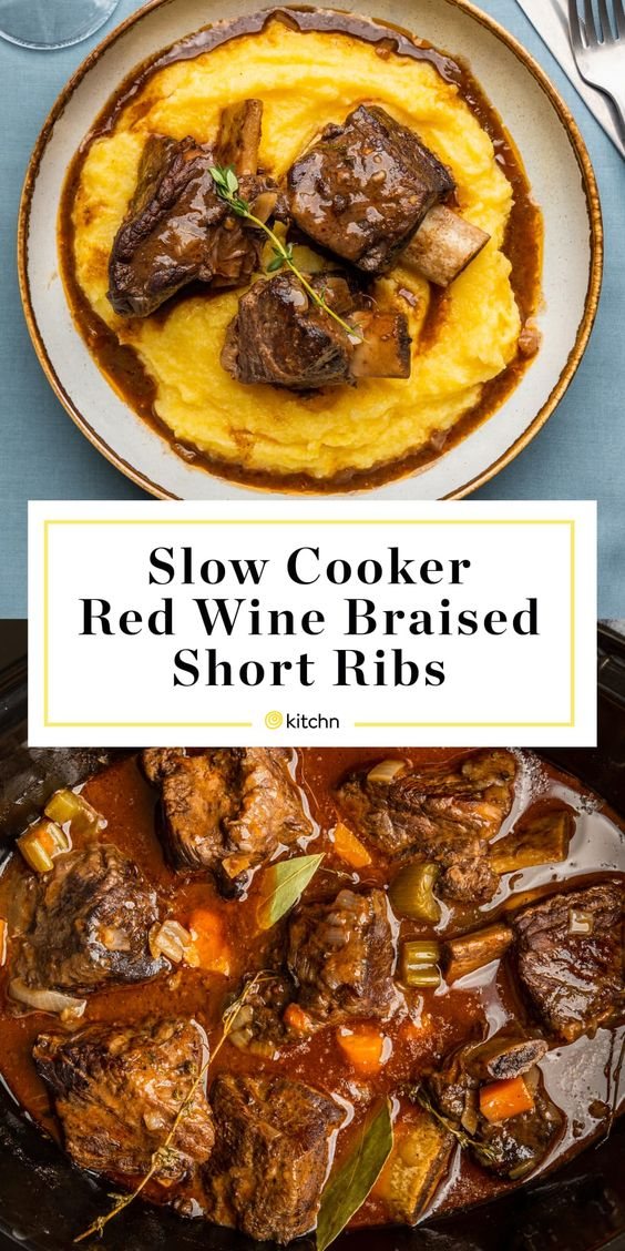 Slow Cooker Red Wine-Braised Short Ribs