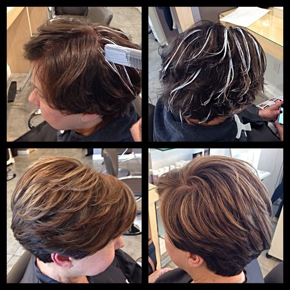 Comb Balayage techniques for a very natural result on short hair. Caramel highlights on a