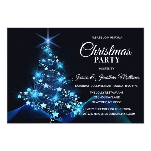 Christmas Party Blue Twinkle Lights Snow Tree Invitation