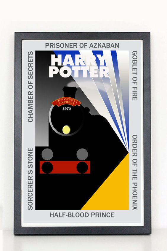 Harry Potter  art deco  train movie poster by ColiseumGraphics,