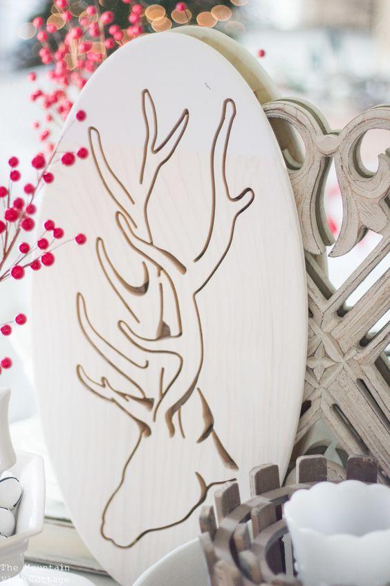 Farmhouse Inspired Christmas end table vignette decor ideas