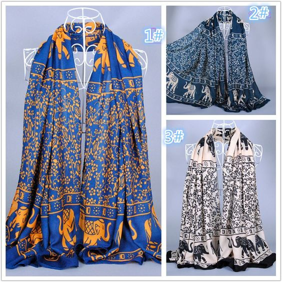 Find More Scarves Information about Women's printe Elephant flower chiffon silk shawls popular hijab animal long winter scarves/scarf 10pcs/lot 180*110cm,High Quality Scarves from Wholesale Scarves Store on Aliexpress.com