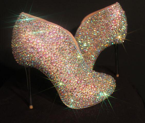 Swarovski Elements AB Crystal Slipper Boots