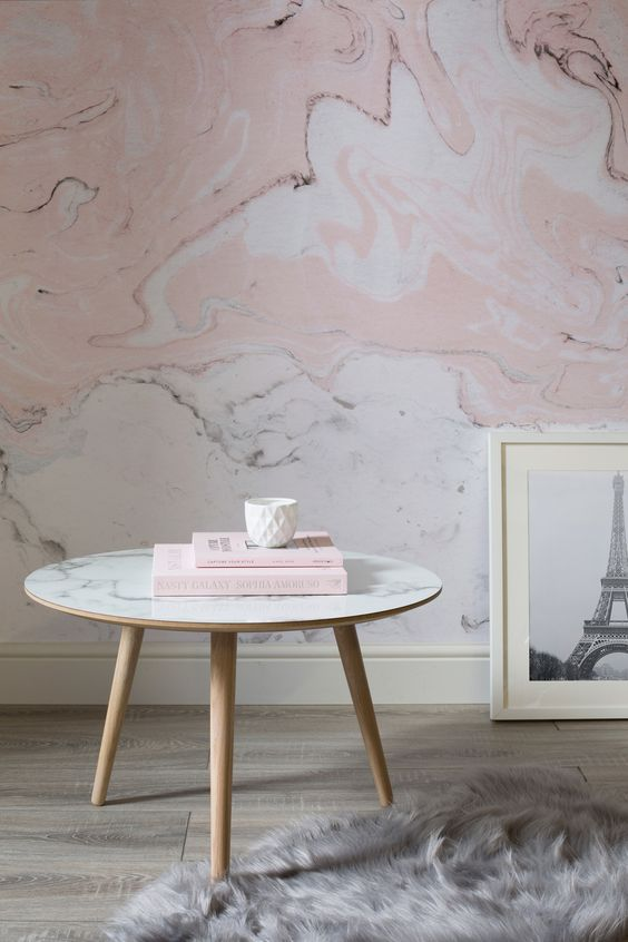 Pink and White Marbleized Wallpaper Mural