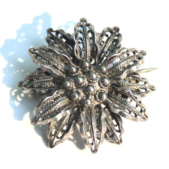 Sterling Silver Flower Brooch