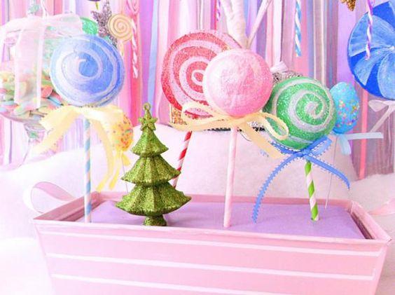 Stripey straws and Xmas balls made into cute candy land decor