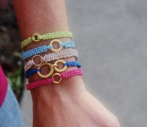 Fun macrame bracelets from Saved By Love Creations