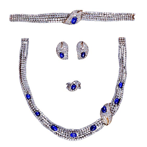 A Superb M. GERARD Sapphire and Diamond Full Parure | From a unique collection of vintage multi-strand necklaces at http://www.1stdibs.com/jewelry/necklaces/multi-strand-necklaces/