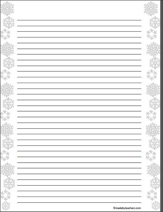 This free download includes 2 pages of snowflake writing paper - elementary lined paper template