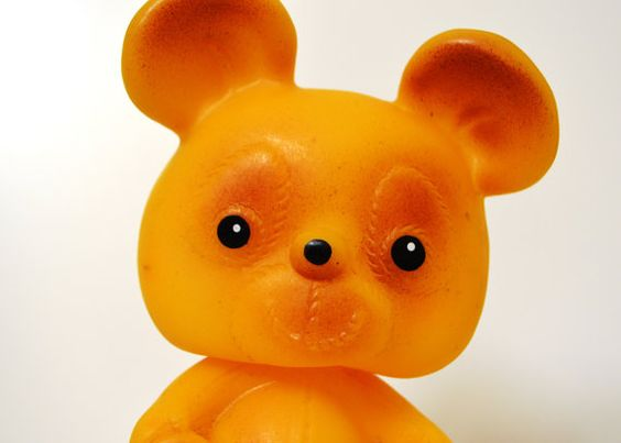Vintage soviet rubber toy rubber Bear toy by IHadItForAWhile