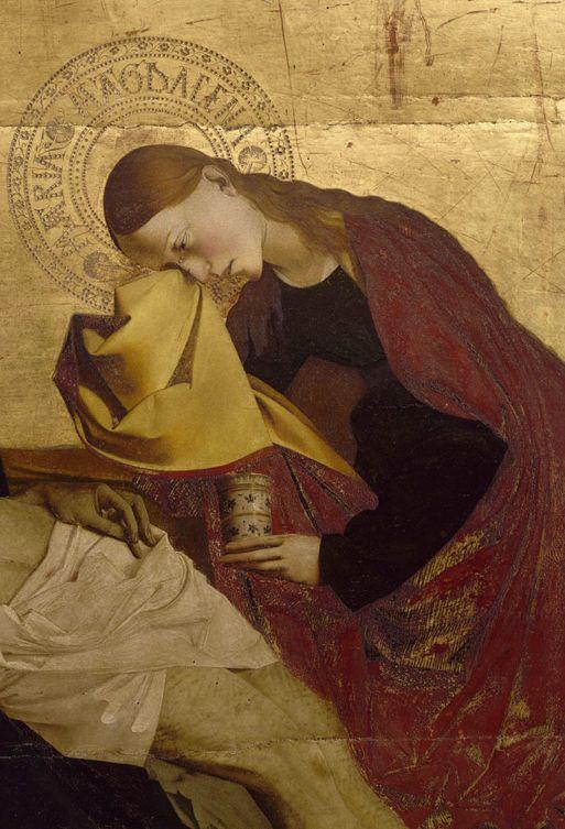 """Enguerrand Quarton (known from 1444 to 1466), (detail) St. Mary Magdalene from """"La Pietà de Villeneuve-lès-Avignon"""", France. École d'Avignon"""