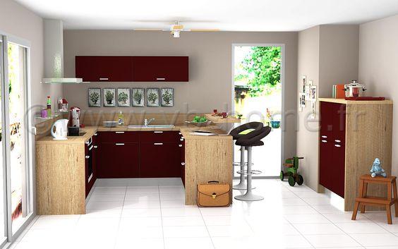 Unique Petite cuisine ouverte en U avec fa ades m lamin es bordeaux plan de travail stratifi d cor bois VB HOME Pinterest