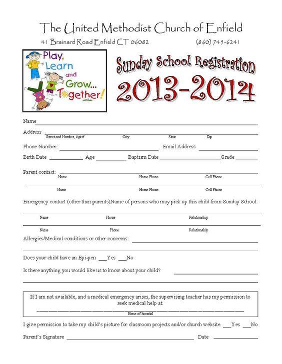 Sunday School Registration Form biz card Pinterest – Sample School Registration Form