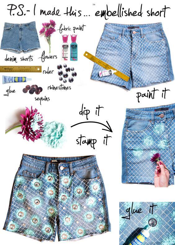 P.S.- I made this... Embellished Short #DIY #cutoffs #summer
