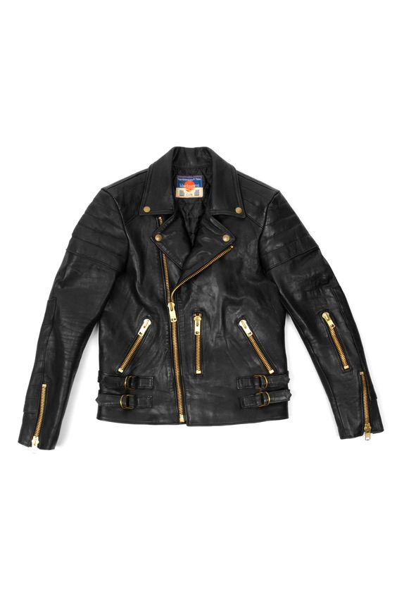 BLACKMEANS padded shoulder black leather moto jacket with gold ...