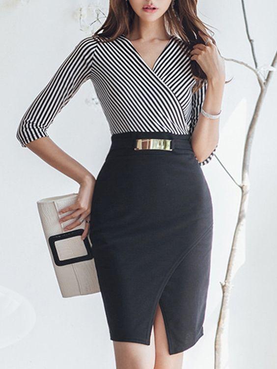 V Neck Slit Striped Bodycon Dress