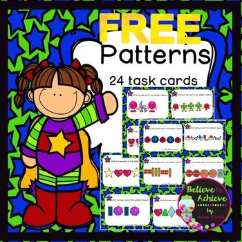 FREE Patterns- 24 Task CardsThis is a colorful set of 24 task cards that will help students determine how the pattern will continue. This set is a wonderful addition to your lessons! I've included a recording sheet and answer key, too!