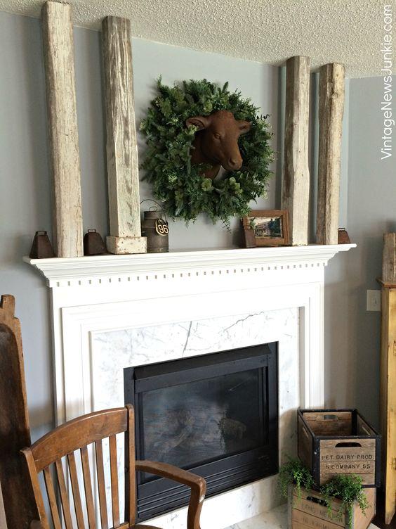 Rustic Farmhouse Mantel Decor: Decor Ideas, Fall Mantels, Vintage, Decorating Ideas, Farmhouse Mantel, Fall Decorating, Fireplace