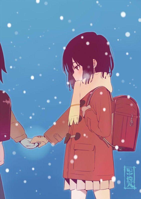 雪の中を歩く加代の僕だけがいない街の壁紙