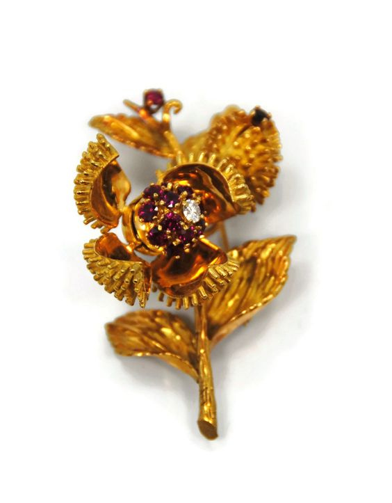Tiffany and Co. Tiffany and Co. 18K Yellow Gold Diamond and Ruby Open Flower Brooch    TrueFacet