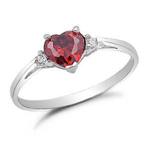 #7: Sterling Silver Ruby Cz Engagement Ring Sizes 4 to 9.