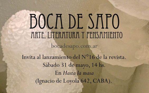 Invitación al brindis lanzamiento de la nueva era de la revista (flyer elaborado sobre imagen de Carla Graziano, artista invitada del N°16 de Boca de Sapo).