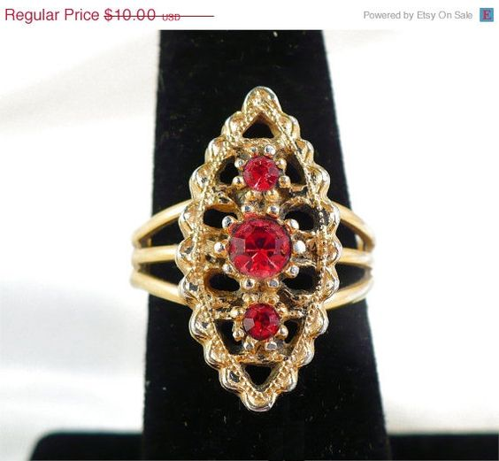 Vintage SARAH COVENTRY Ruby Rhinestone Ring, Adjustable Size 7 by MarlosMarvelousFinds, $8.50  Entire Shop is on Sale Through July 7th! 15% OFF Everything!