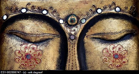 Close up of buddha's eyes
