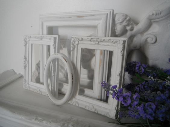 OOAK 4 piece picture frames shabby chic open frames by ShabbyRoad, $26.50