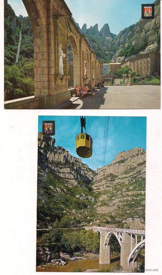 Montserrat. Vistas del Aeri y de la Plaza de la Basilica. Sin circular.