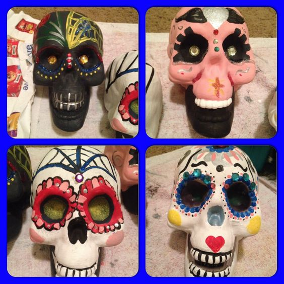 Hand painted sugar skulls to decorate with