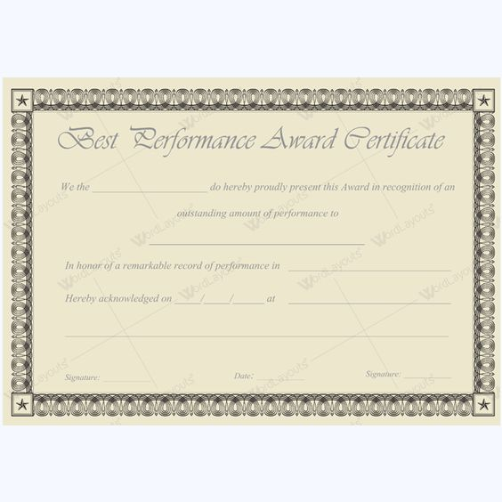 Word Best Performance Certificate Template #bestperformanceaward - certificate achievement template